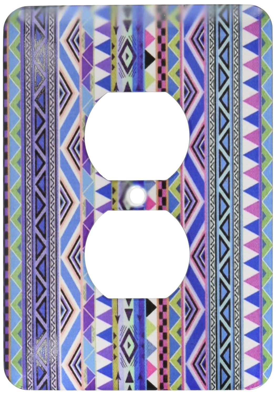 2 Plug Outlet Cover Blue Pattern Purple 3dRose lsp/_107318/_6  Tribal Print