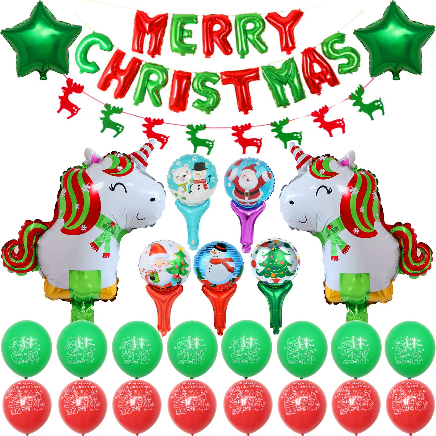 Christmas Cute Cartoon Unicorn and Handheld Foil Balloons Party Supplies, Decoration Set With Christmas Unicorn & Five-Pointed Star Foil Balloons Red And Green Latex Balloons, Full Party Set 40PCS For Christmas Party Welliboom Technology Company Limited