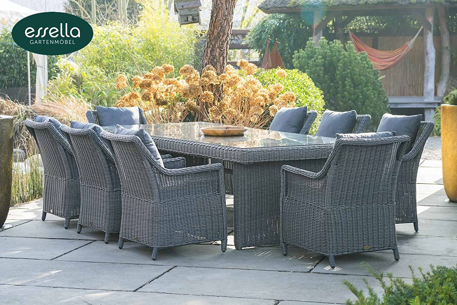 polyrattan sitzgruppe dubai 8 personen rundgeflecht grau meliert gartenm bel. Black Bedroom Furniture Sets. Home Design Ideas