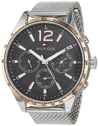 Tommy Hilfiger Reloj Multiesfera para Hombre de Cuarzo con Correa en Acero Inoxidable 1791466: Amazon.es: Relojes