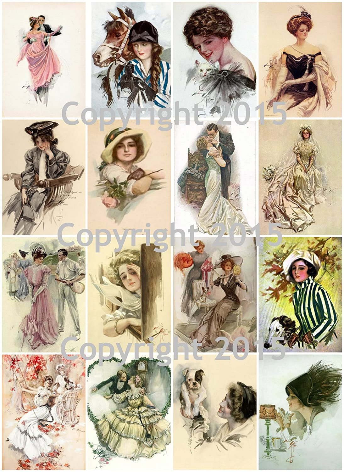 Harrison Fisher Vintage Beauties #104 Printed Collage Sheet 8.5 x 11