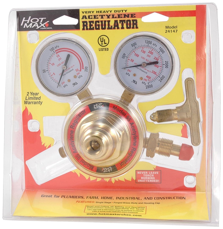 Hot Max 24145 2-15 PSIG Heavy Duty 075 Acetylene Regulator