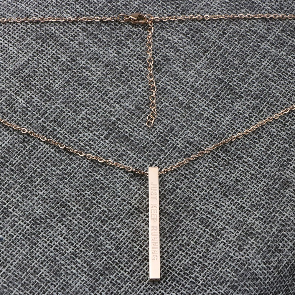 Joycuff Runner Gift Encouragement Jewelry for Women Vertical Bar Necklace Just Keep Running by Joycuff (Image #3)