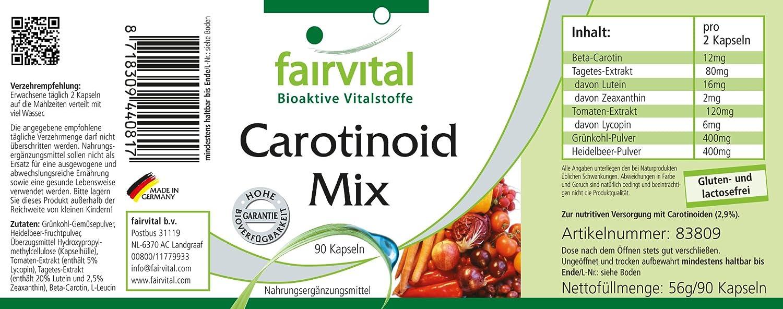 mezcla de carotenoides - para 45 días - VEGAN - ALTA DOSIS - 90 cápsulas - carotenoides naturales con antocianinas: Amazon.es: Salud y cuidado personal
