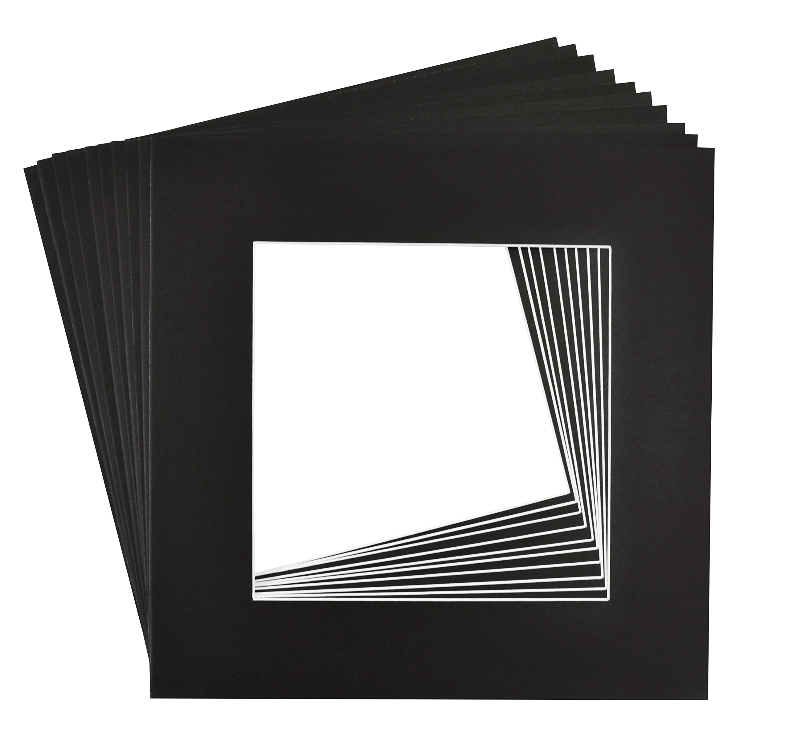 Golden State Art, Pack of 10, 12x12 Black Picture Mats Mattes with White Core Bevel Cut for 8x8 Photo