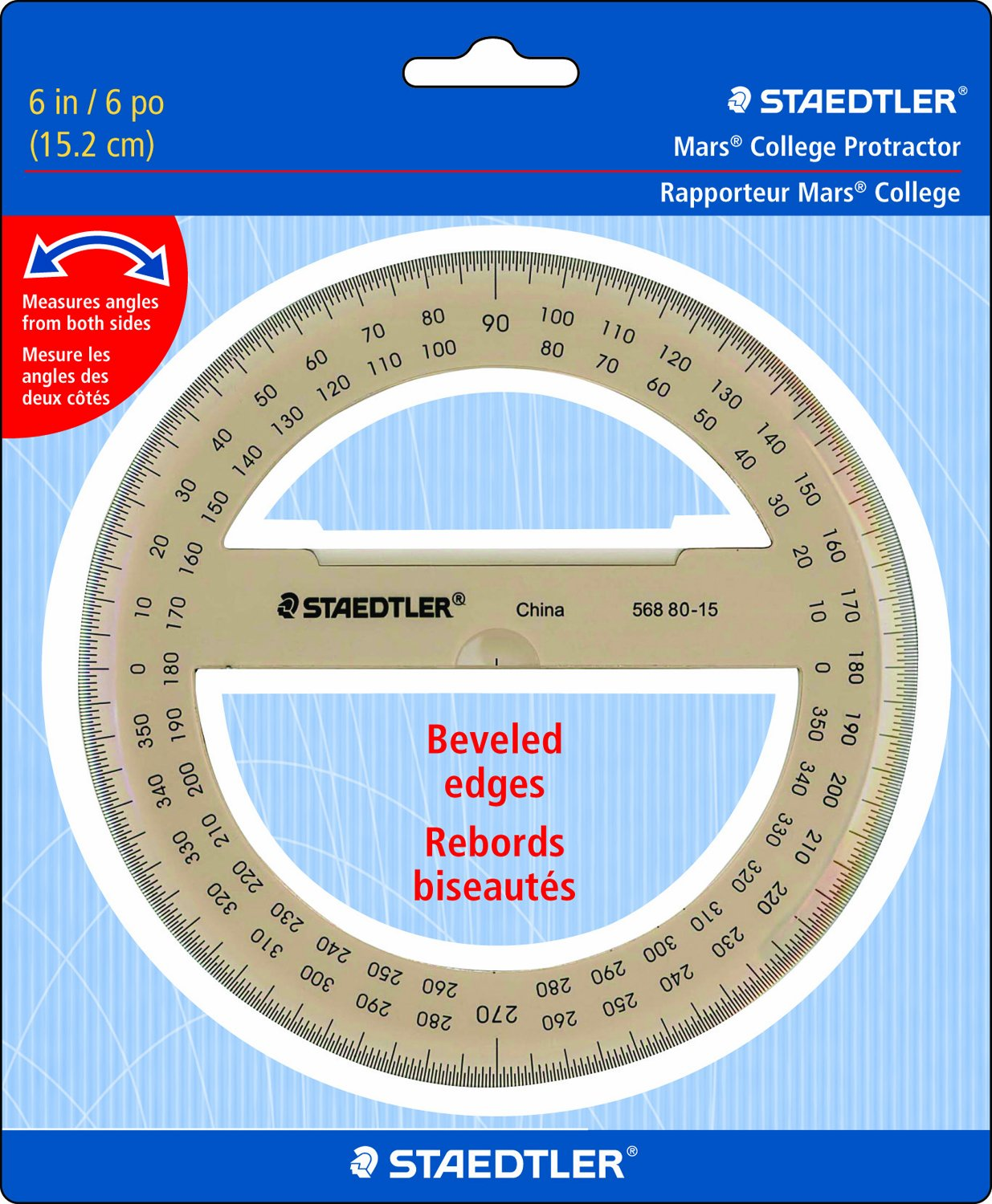 Staedtler Protractor 6'' 360 Degrees, 56880-15BK by STAEDTLER
