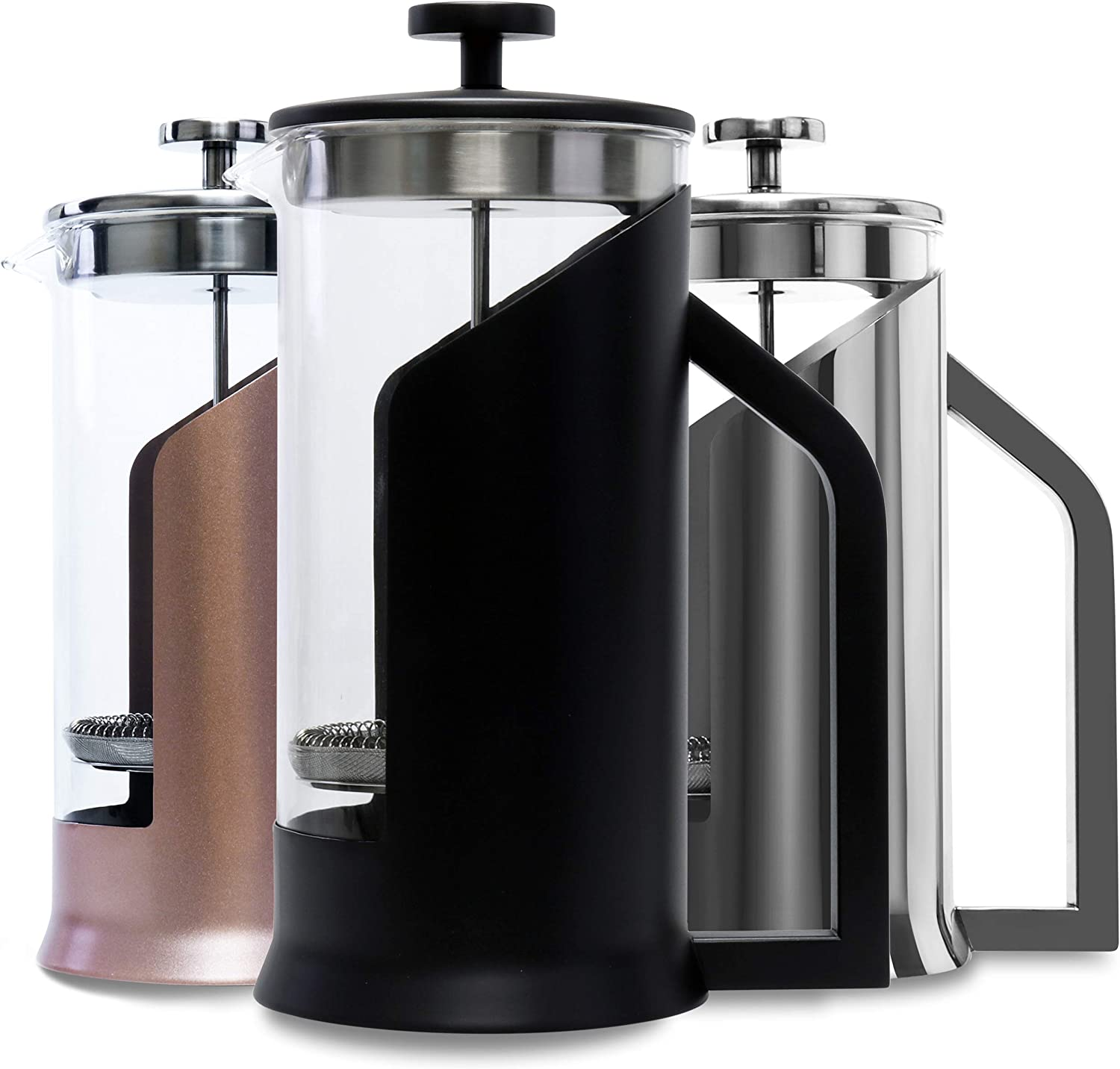 Lafeeca French Press Coffee Maker with Borosilicate Glass - Stainless Steel Lid Double Filtration System Large 34 oz 1000 ml Black