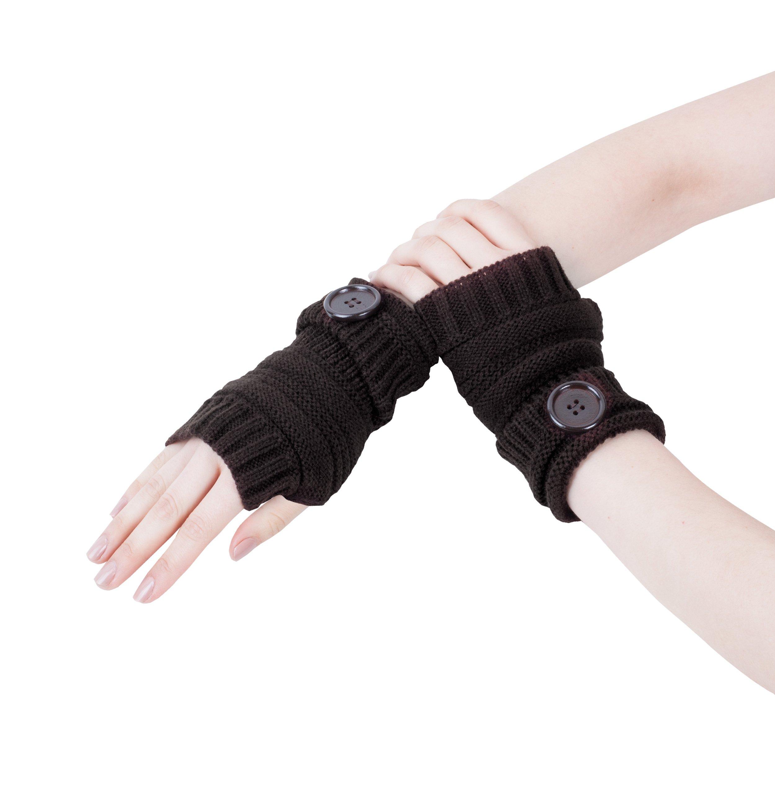 GLV011-Short Black Fingerless Gloves Knitted with Turn-back