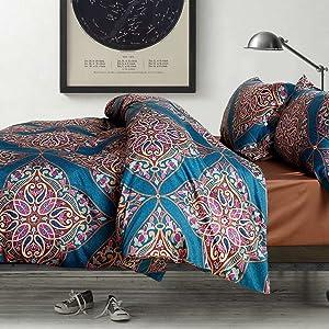 Eikei Home Damask Medallion Luxury Duvet Quilt Cover Boho Paisley Print Bedding Set 400 Thread Count Egyptian Cotton Sateen Vibrant Bohemian Pattern (Queen, Teal)