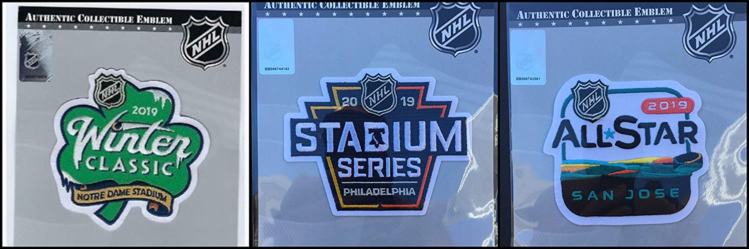 ... 2019 NHL Three (3) Patch Combo Winter Classic Stadium Series   All Star  Game Puck Style Stanley Cup Final Pittsburgh Philadelphia Penguins Flyers 0944adb89