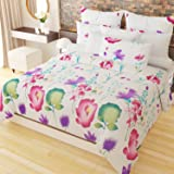 Home Candy Cheerful 152 TC 3-D Double Bedsheet with 2 Pillow Covers - Floral, Multicolour
