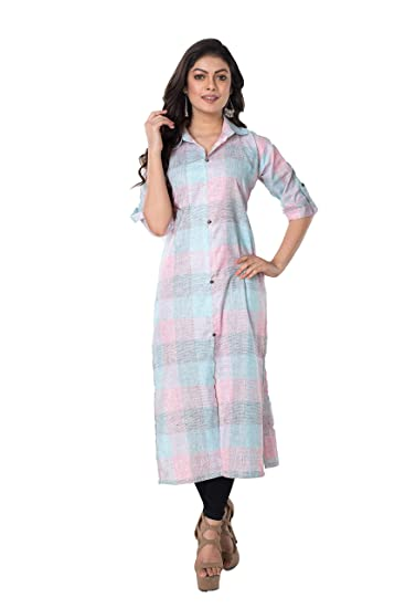 bb495bd7d Aishika Women Indo Western Khadi Linen Kurta Kurti Fancy Formal Casual   Amazon.in  Clothing   Accessories