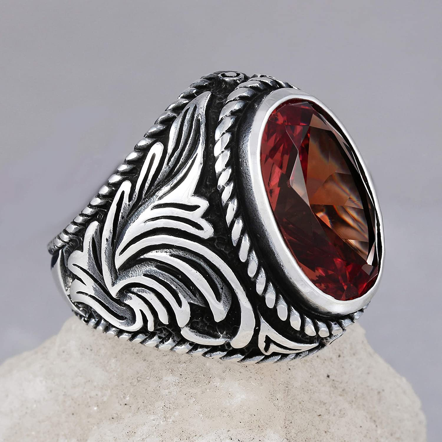 925 Sterling Silver Ring for Men with Oval Zultanite Stone Turkish Handmade Mens Jewelry Male Rings Size 12.5