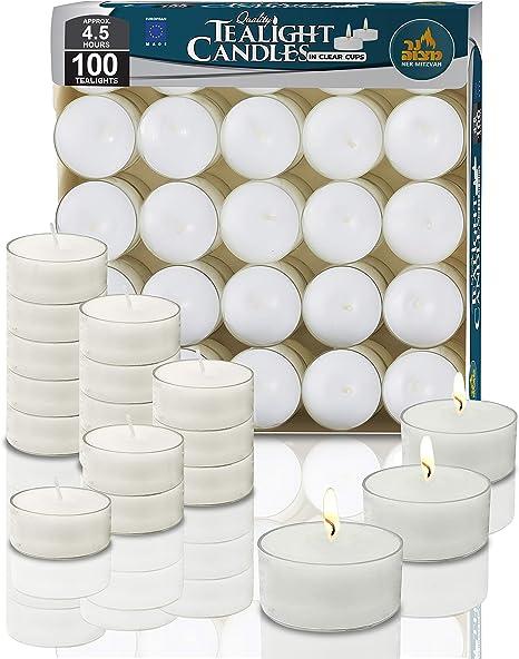 Ner Mitzvah Taza Clara Velas de Té - Pack de 100 Velas - Velas Blancas, para Centros de Mesa y Viaje 4 Horas de Duración de Encendido - Cera Prensada: Amazon.es: Hogar