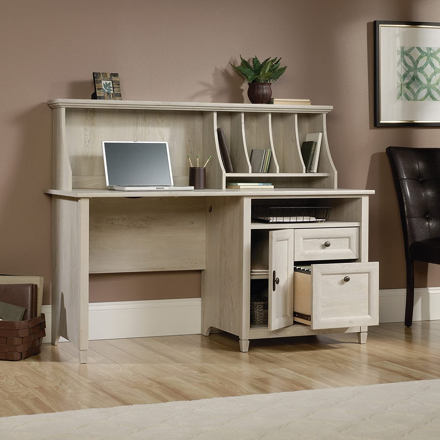amazoncom sauder edge water computer desk with hutch in chalked chestnut kitchen u0026 dining