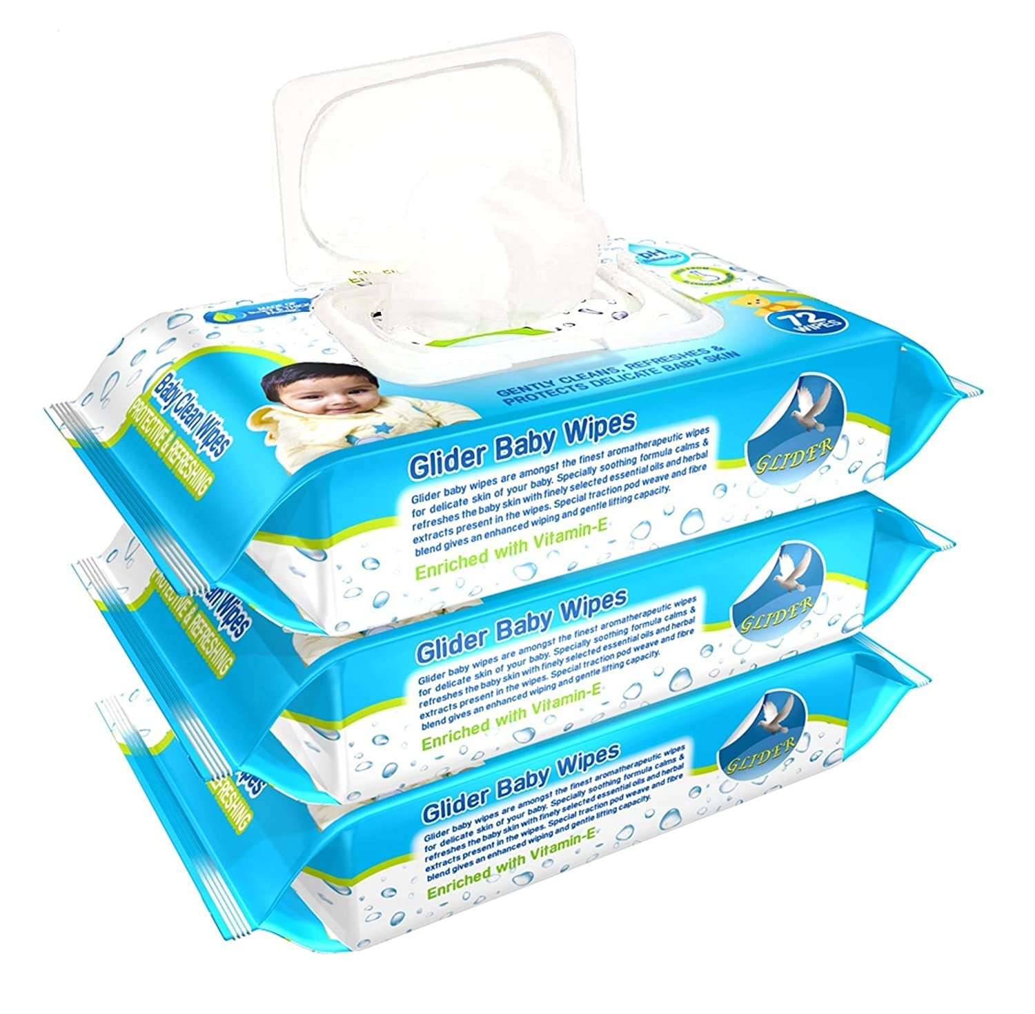 Glider Baby Wipes Pack of 3 (216 Wipes)