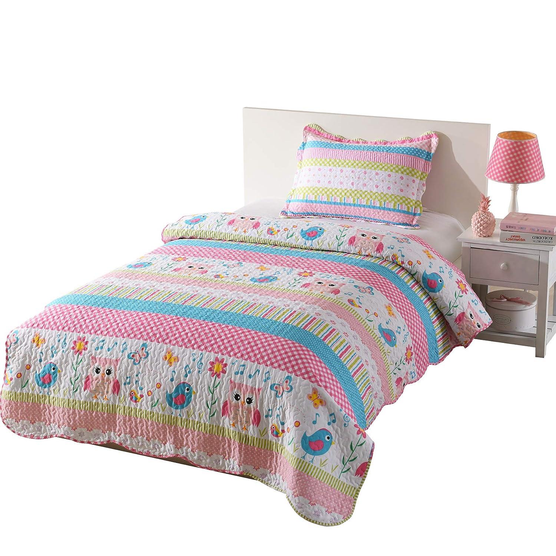 MarCielo 2 Piece Kids Bedspread Quilts Set Throw Blanket for Teens Boys Girls Bed Printed Bedding Coverlet Bird Garden Owl A73 (Twin)