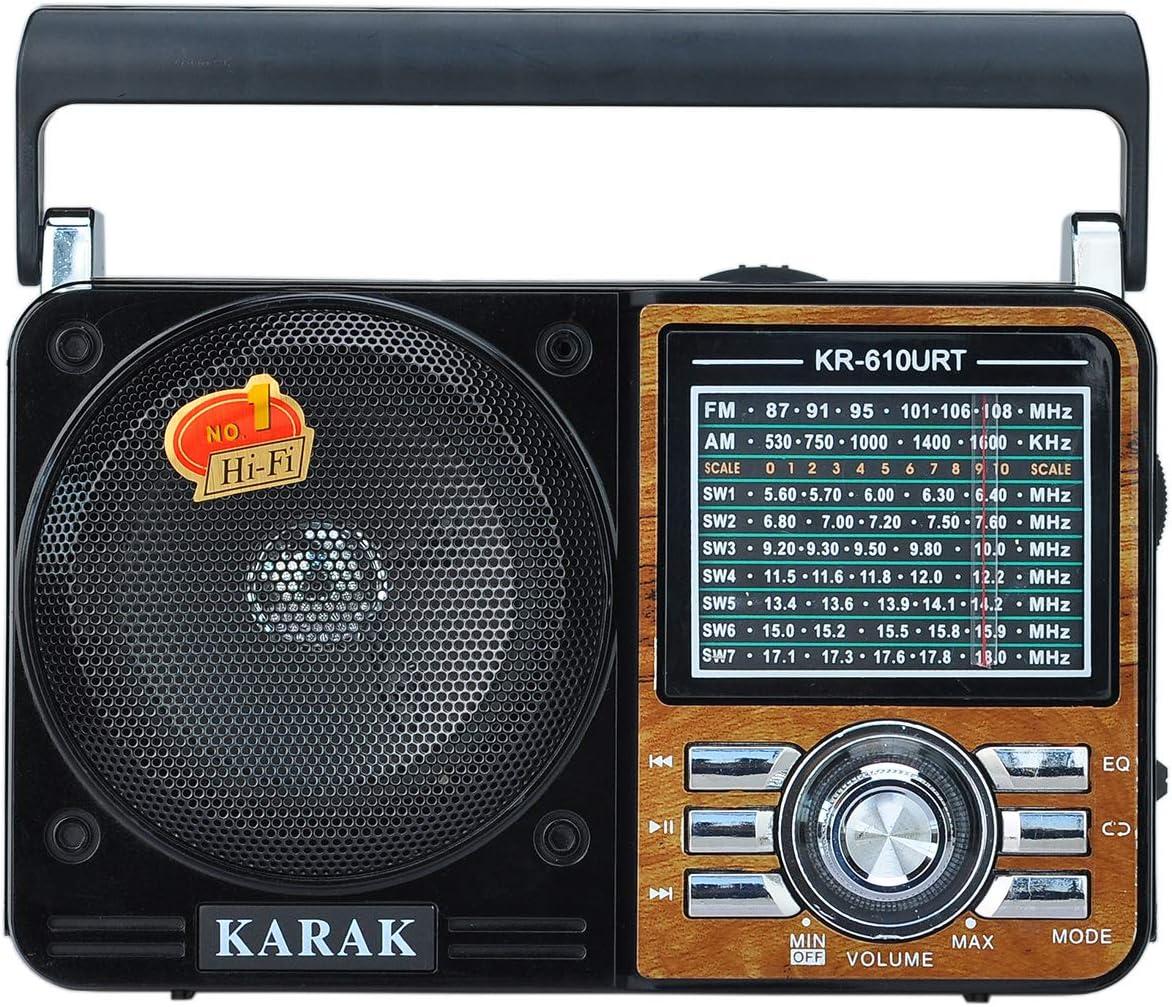 Altavoz est/éreo de Alta fidelidad estaci/ón de escaneo//Almacenamiento autom/ático Disco USB//Tarjeta TF Compatible COVVY Radio FM//Am MP3 port/átil Mini Recargable Negro Linterna de Emergencia
