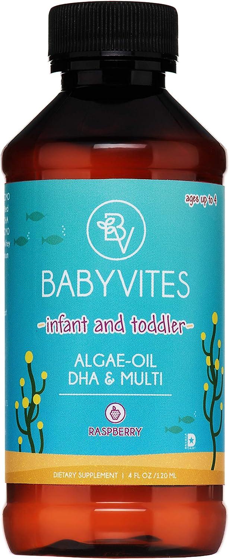 BabyVites Liquid Infant and Toddler Algae Oil Omega 3, DHA and Multivitamin. Birth to Age 4. Plant-Based, Vegetarian