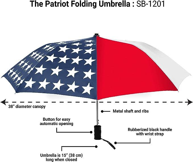 Uncle Sam Patriot American Flag Windproof Compact Auto Open And Close Folding Umbrella,Automatic Foldable Travel Parasol Umbrella