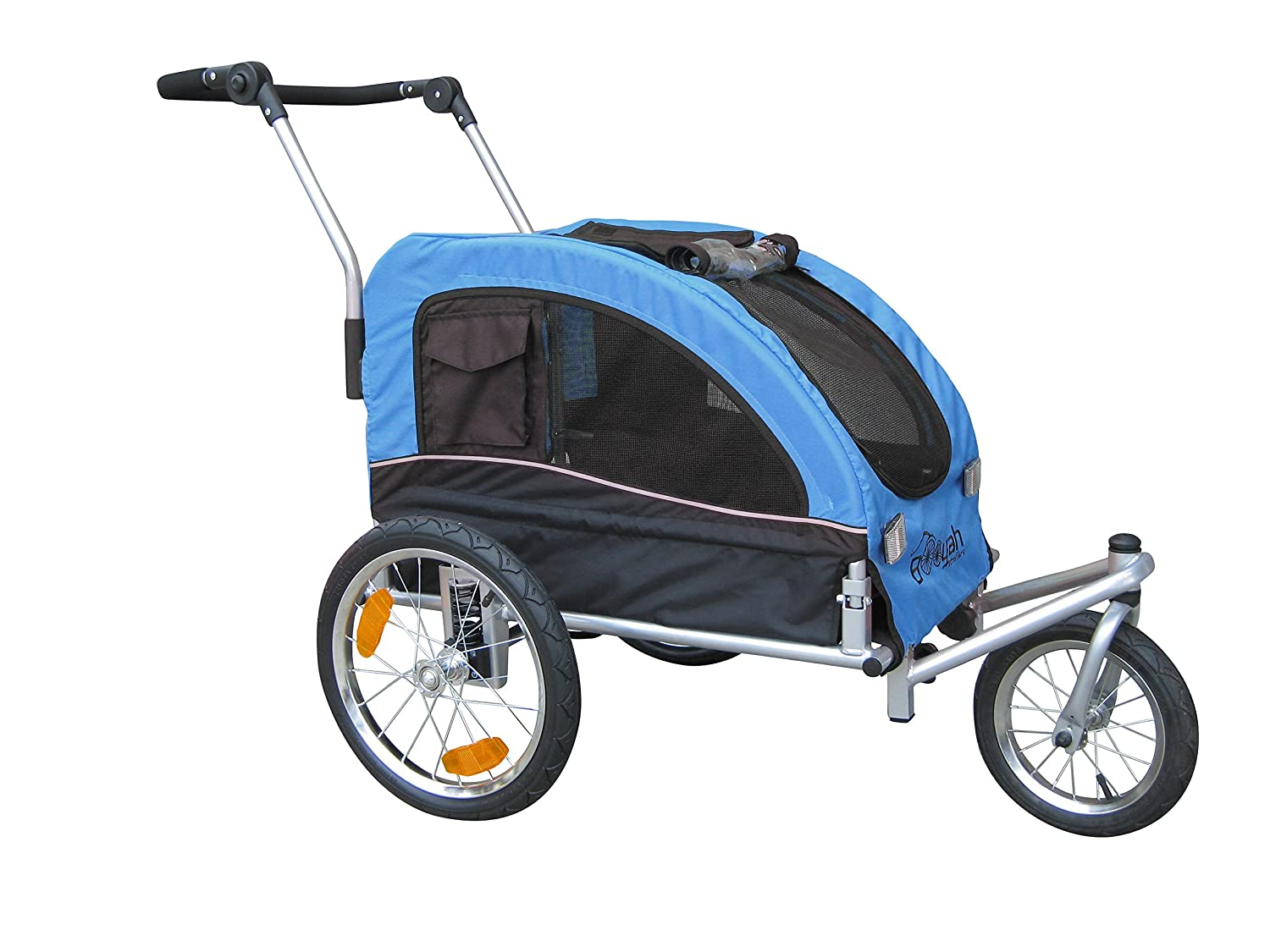 Booyah Medium Dog Stroller Pet Bike Trailer with Suspension – Blue