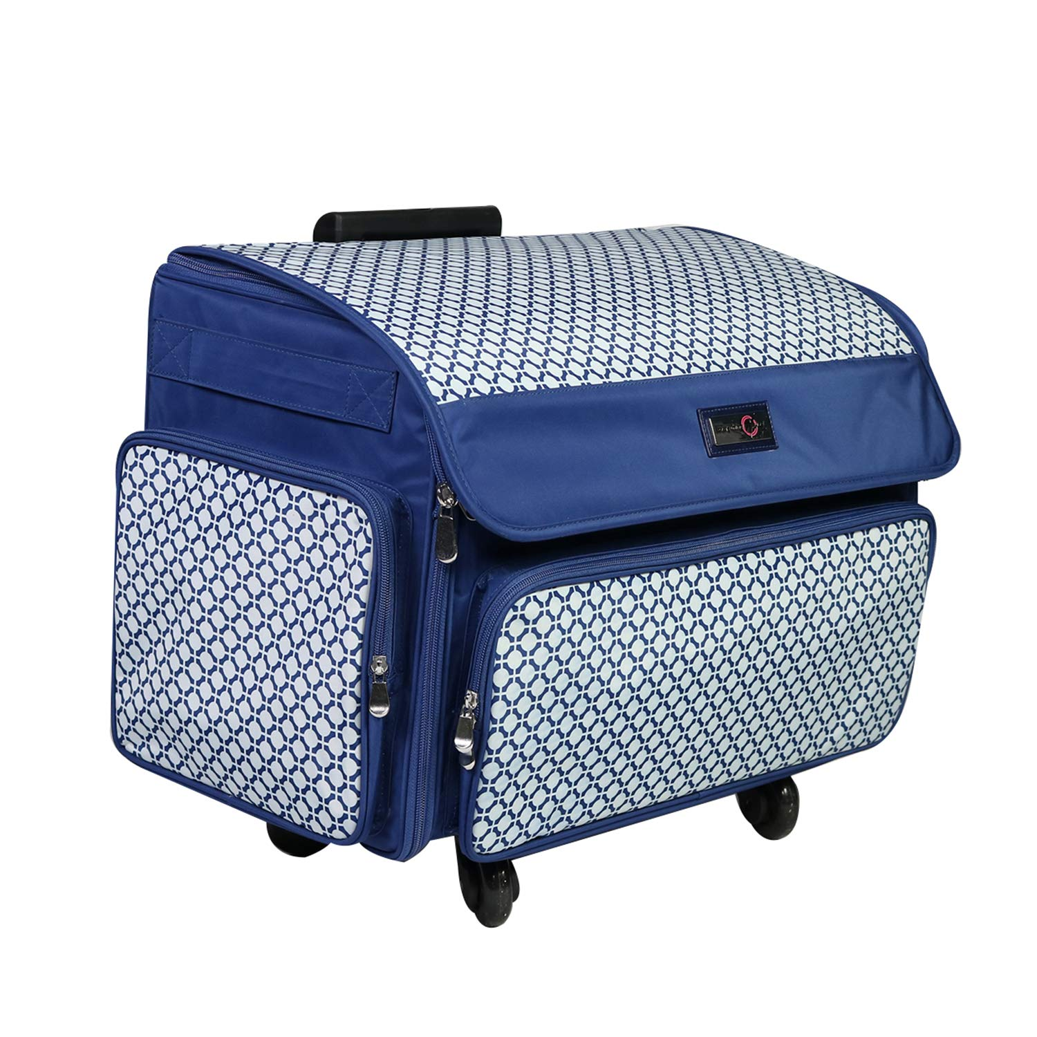 Singer Bernina /& Most Machines Everything Mary 4 Wheels Collapsible Deluxe Sewing Machine Storage Case Blue Rolling Trolley Carrying Bag for Brother Travel Tote Organizer for Accessories