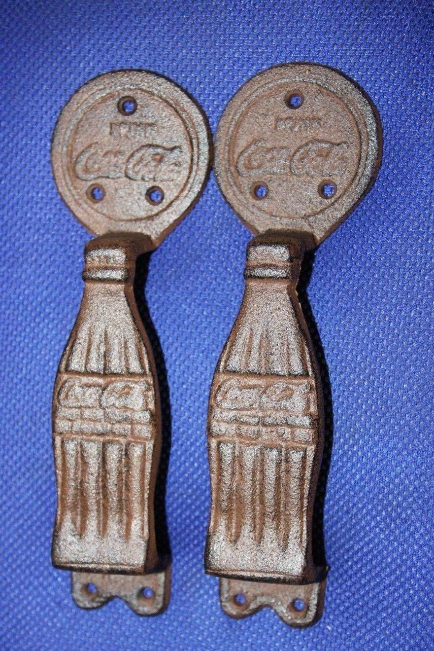 Southern Metal Set of 2 Coca Cola Bottle Cabinet Door Pulls Handles Vintage Look Cast Iron, 9 3/4 inches, HW-66