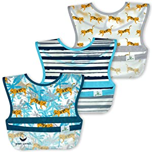 green sprouts Snap and Go Wipe-Off Bibs (3 pk) Waterproof Protection for Messy eatersNeatly Rolls up for Mess and Utensil Storage, Flipped Pocket Stays Extended to Catch Spills, Easy Clean