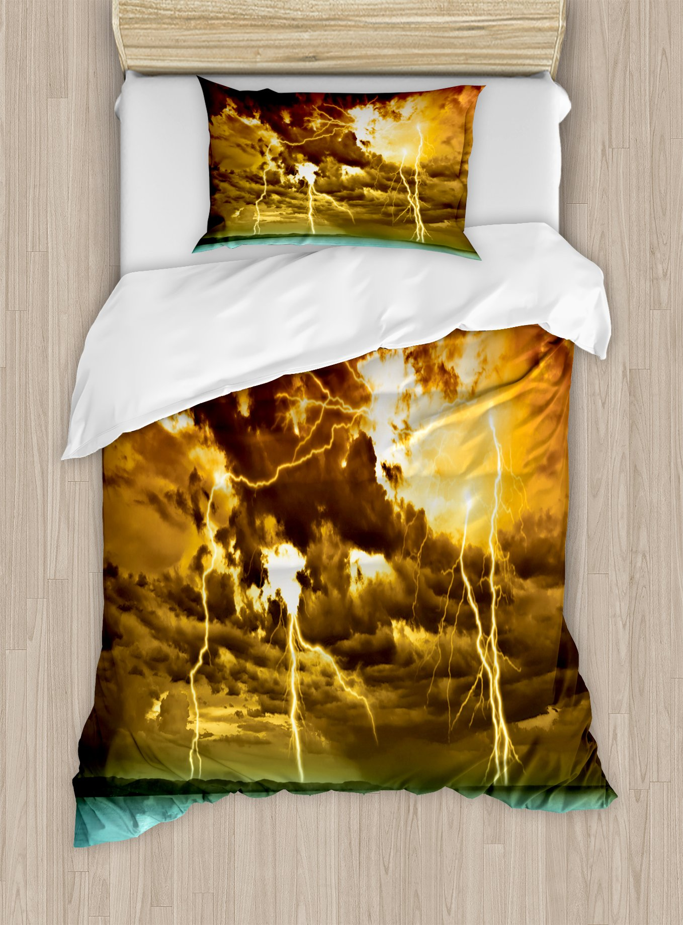 Ambesonne Nature Duvet Cover Set Twin Size, Flash Storm Over The Lake with Large Rain Clouds Miracle Solar Illumination Photo, Decorative 2 Piece Bedding Set with 1 Pillow Sham, Blue Yellow