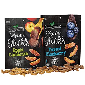 Crunchy Cravings Sesame Sticks – 2 in 1 Intense Flavored Apple Cinnamon and Forest Blueberry Pack - 14oz