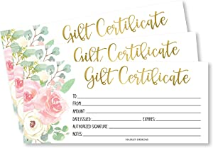25 Pink & Gold Floral Blank Gift Certificates for Small Business, Paper Voucher for Massage, Hair & Nail Salon Spa, Restaurants, and DIY Coupon Cards for Birthday, Mom Valentines Day, Him & Her, 4x9""