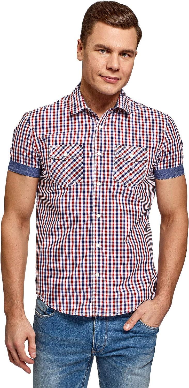 oodji Ultra Hombre Camisa Entallada con Botones a Presión