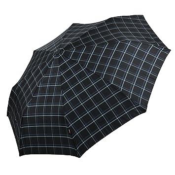 Knirps Regenschirm Taschenschirm Damen Herren Duomatic Karo braun