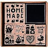 """Rico Design -  Set di timbri """"Homemade"""", in legno, 8 pezzi, con 1 tampone"""