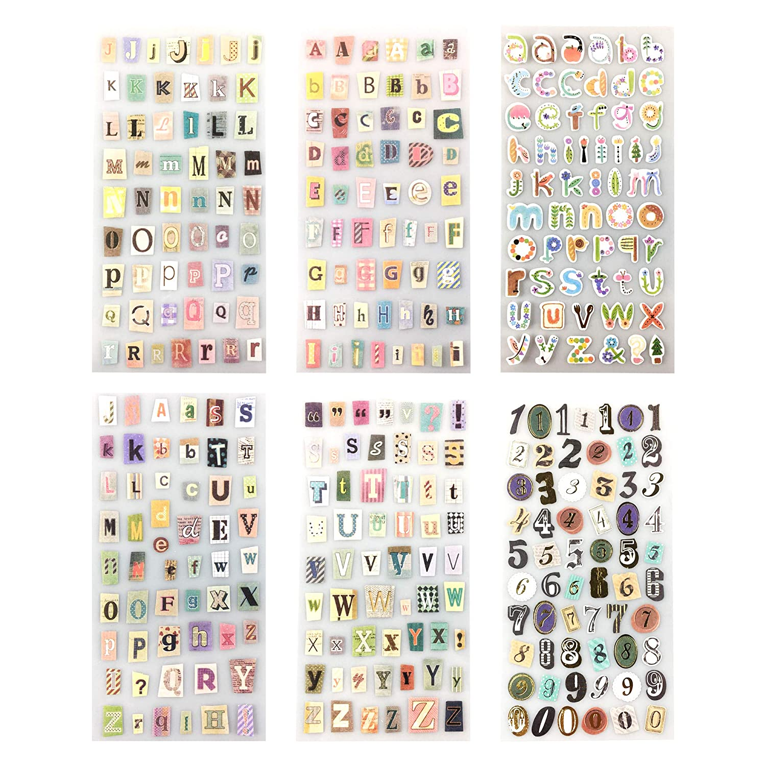 14 Sheets Letter and Numbers Sticker Colorful Gift Alphabet Sticker/for DIY Craft Greeting Card Scrap Books and Home Decor