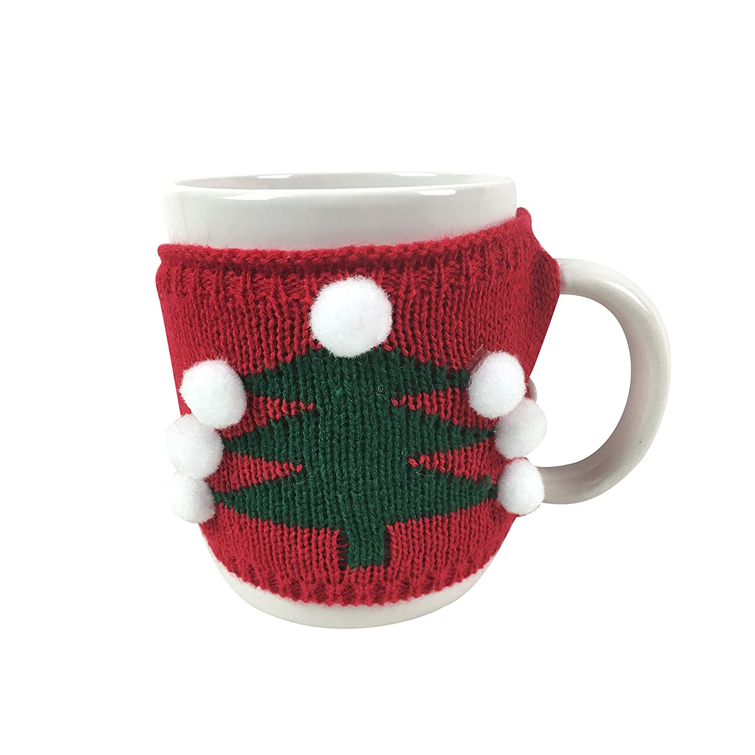 Extra Large Ugly Christmas Sweater Coffee Mug Red and White