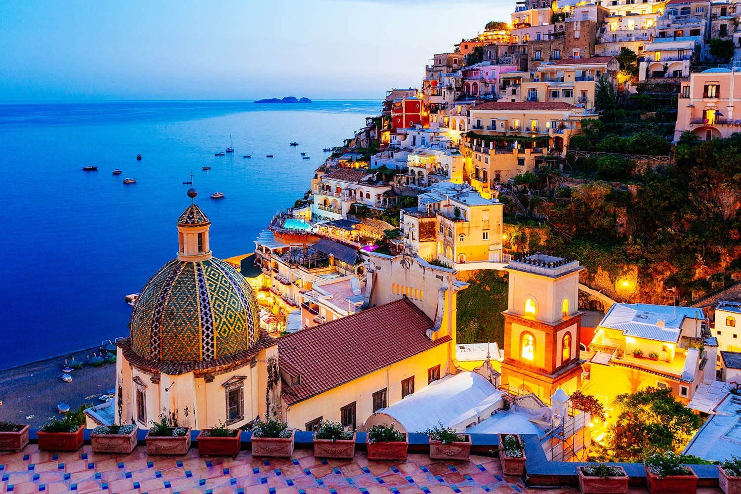 Jigsaw Puzzle 1000 Piece - Dreamy Positano - Signature Collection Twilight Sea Sight Large Puzzle Game Artwork for Adults Teens