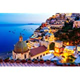 Jigsaw Puzzle 1000 Piece - Dreamy Positano - Signature Collection Twilight Sea Sight Large Puzzle Game Artwork for Adults Tee