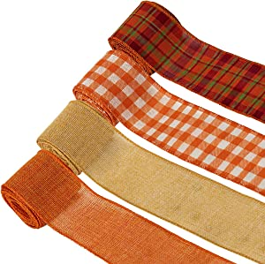 4 Pack Plaid Burlap Ribbon Rolls, Fall Wired Wrapping Burlap Ribbon with Harvest Thanksgiving Christmas Theme for Wrapping Gifts, Home Decoration and DIY(2.5in, 26yd)