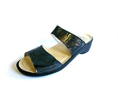 Turm-Schuh Damen Sandale Sandalette Pantolette schwarz (gemustert) 91410 echt LEDER