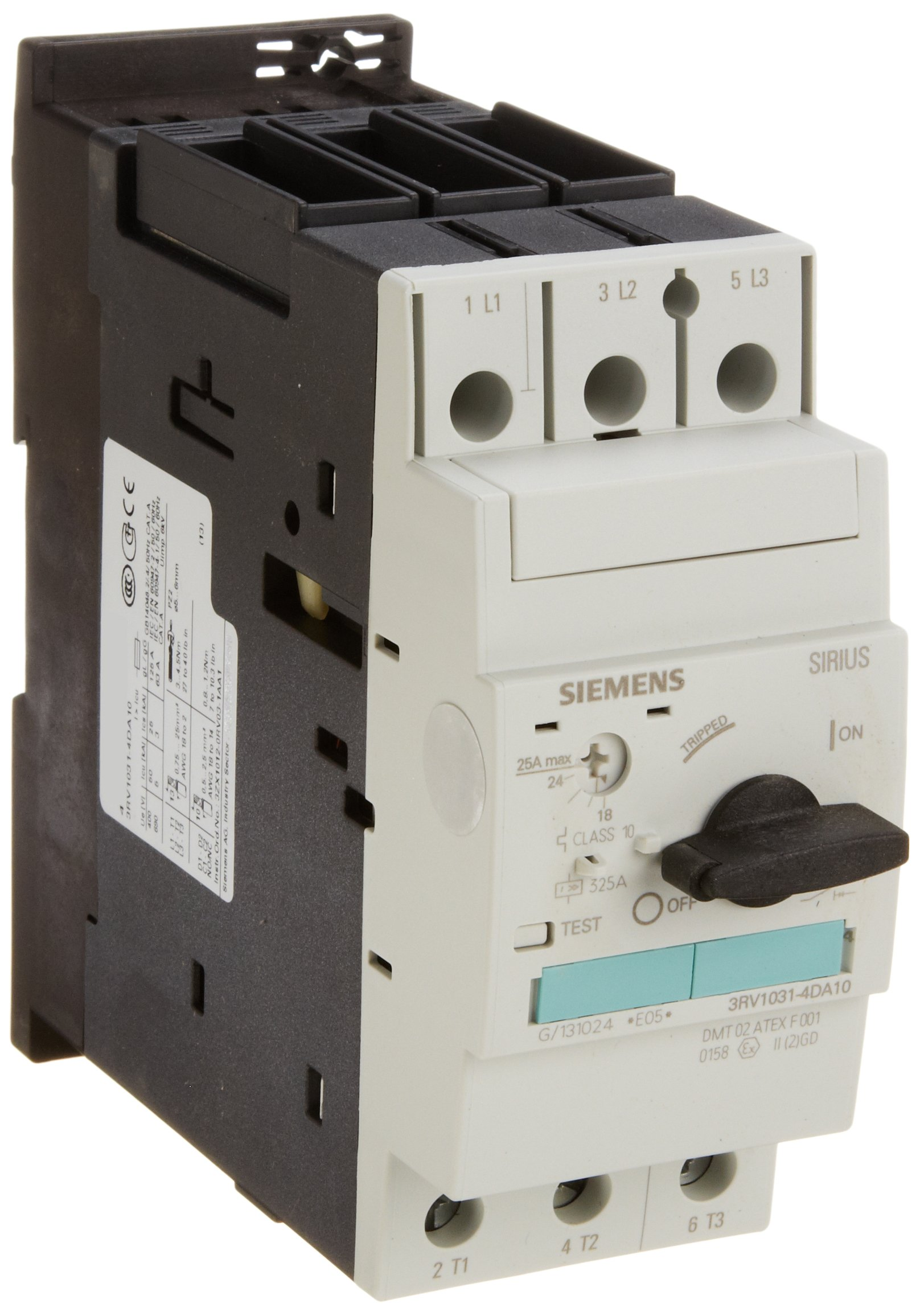 Siemens 3RV1031-4DA10 Motor Starter Protector, Screw Connection, 3RV103 Frame Size, 18-25 FLA Adjustment Range, 325A Instantaneous Short Circuit Release, 65kA UL Short Circuit Breaking Capacity at 480VAC