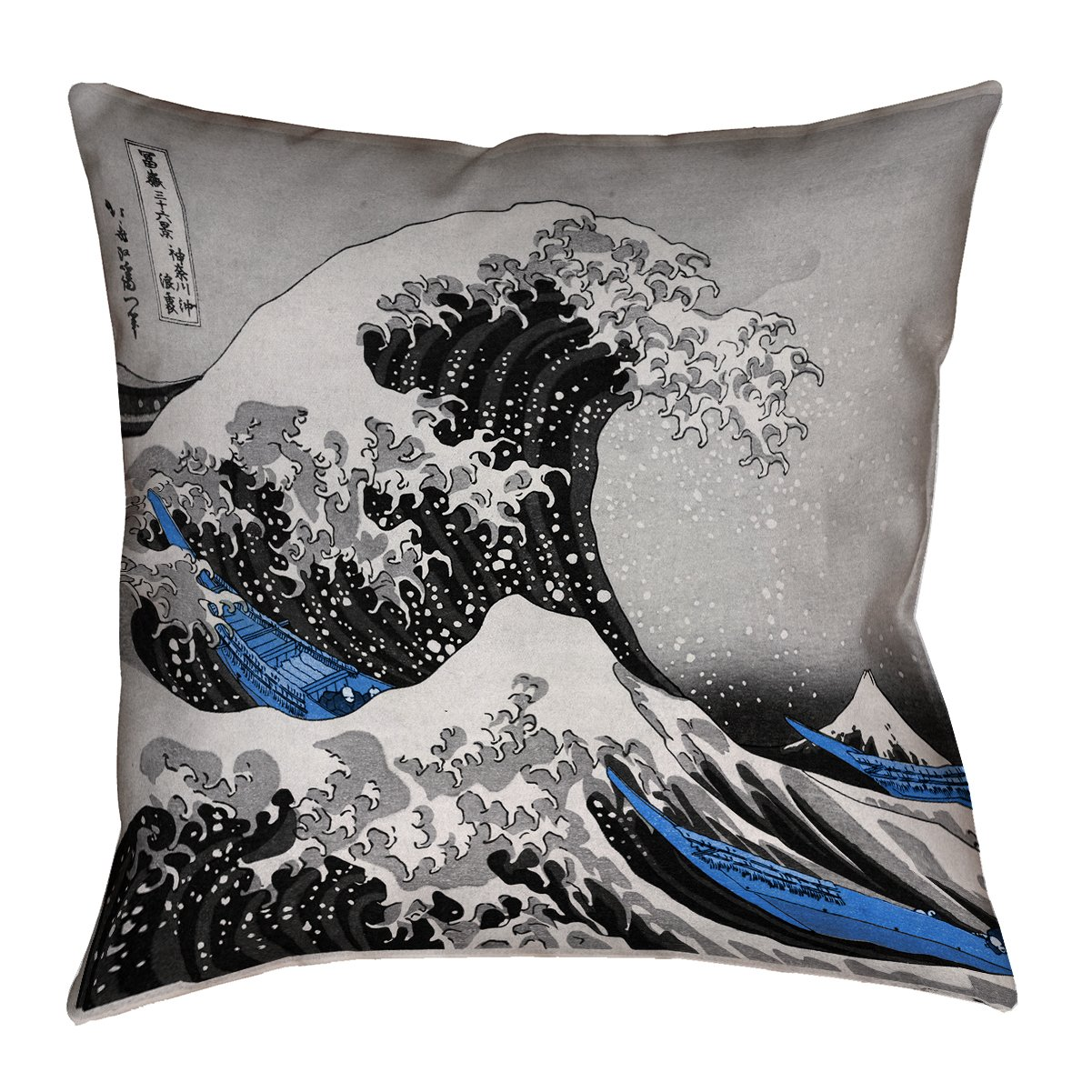 ArtVerse Katsushika Hokusai 18\' x 18\' Cotton Twill Double Sided Print with Concealed Zipper & Insert The The Wave with Blue Accents Pillow