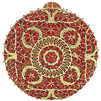 Cadena Bolso Mujer Noche Bolsas Fiesta Boda Carteras Brillo Mano Diamantes Embrague Rojo: Amazon.es: Equipaje