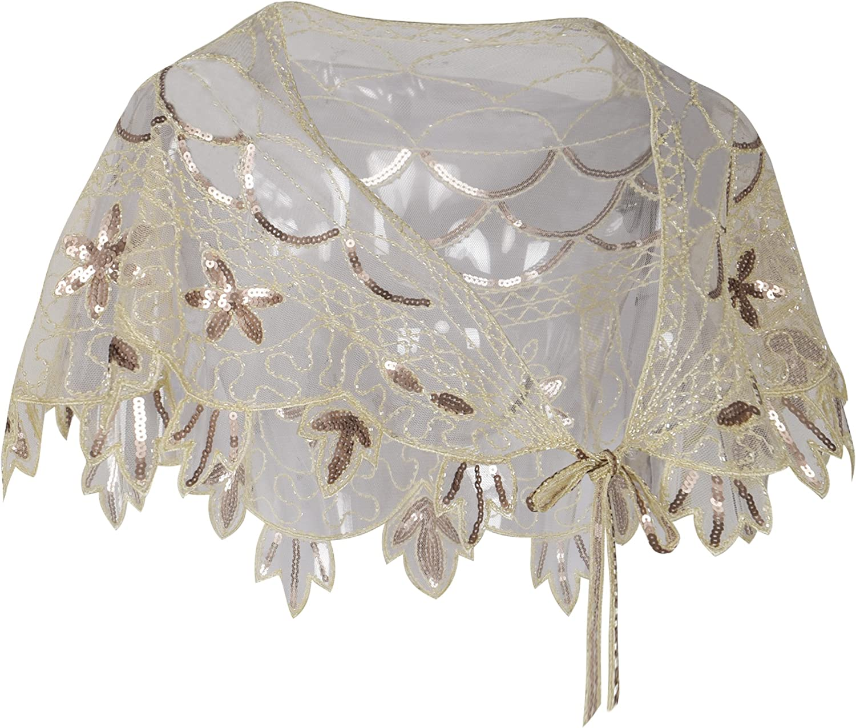 PrettyGuide Womens 1920s Shawl Beaded Evening Wraps Flapper Bolero