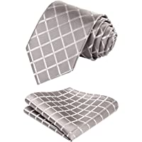 HISDERN Business Ties for Men Classic Plaid Check Tie + Handkerchief Set Elagant Men's Striped Necktie & Pocket Square Set