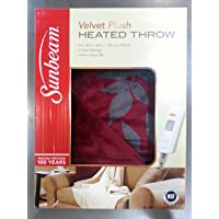 Sunbeam Electric Heated Throw VelvetPlush Washable 3 Heat Setting Auto-Off - Red Aspen Reversible
