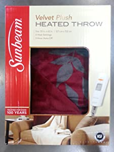 Sunbeam Electric Heated Throw VelvetPlush Washable 3 Heat Setting Auto-Off - Red Aspen Reversible