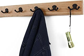 """product image for PegandRail Solid Oak Wall Mounted Coat Rack with Aged Bronze Double Style Coat Hooks - Made in The USA (Natural, 25.5"""" x 3.5"""" with 5 Hooks)"""
