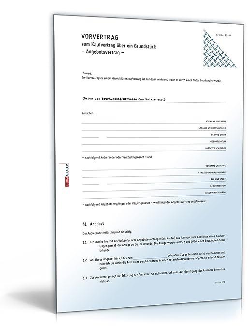 Vorvertrag Grundstückskaufvertrag Download Amazonde Software