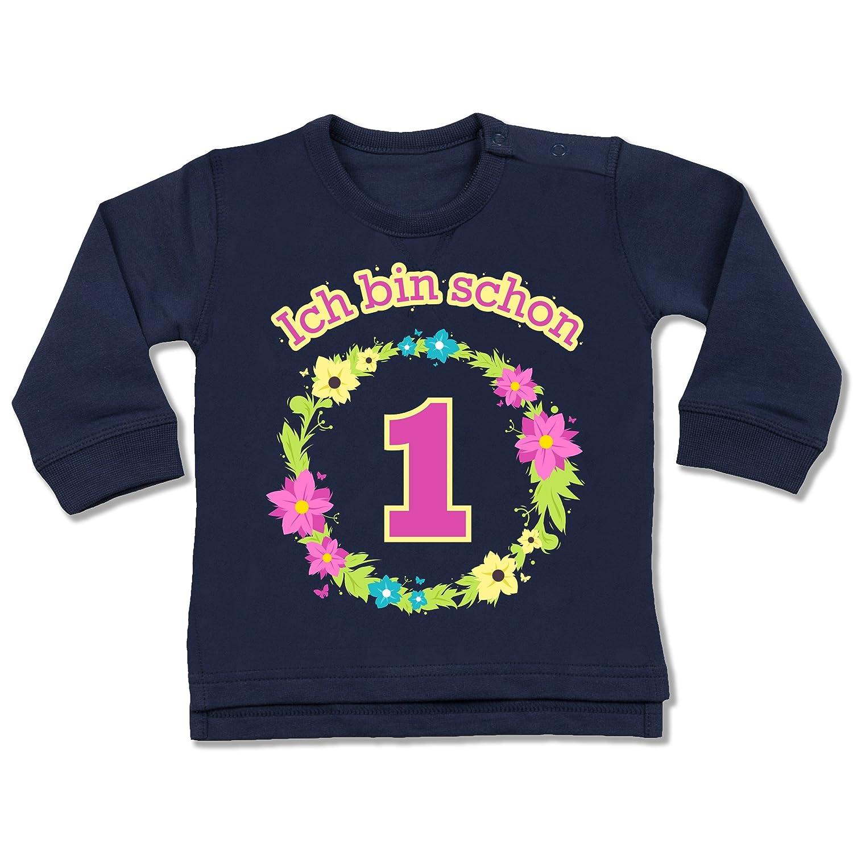 Shirtracer Geburtstag Baby - Ich Bin Schon 1 Blumenkranz - Baby Pullover BZ31